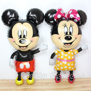 Large 45inch mickey balloons Minnie Mouse Airwalker Foil Balloon Mickey Mouse balloon minnie mouse&mickey mouse party supplies