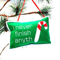 Christmas Ornament- I never finish anyth Candy Cane felt