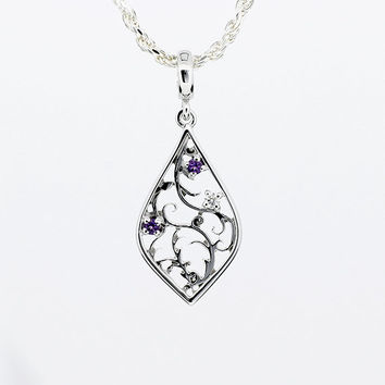 Amethyst and diamond filigree pendant, white gold, yellow gold, filigree necklace, purple, amethyst pendant, unique, rose gold, bridal
