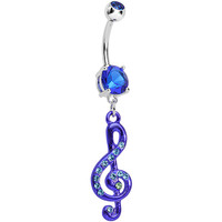 Blue Gem Treble Clef Drop Belly Ring | Body Candy Body Jewelry