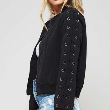 Lace Up Bomber Jacket
