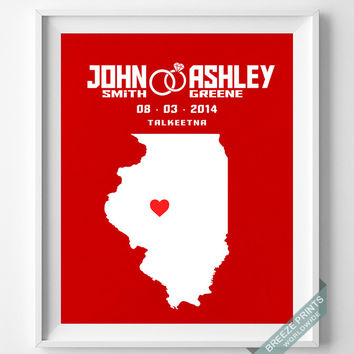 Customized, Print, Illinois, Wedding, Anniversary, Couple, Personalized, Gift, Map, Custom, Wall Art, Home Decor, Marriage, Love [NO 12]