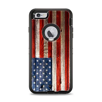 The Wooden Grungy American Flag Apple iPhone 6 Plus Otterbox Defender Case Skin Set