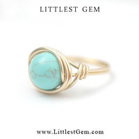 Big Turquoise Ring - unique rings - wire wrapped jewelry handmade - custom ring