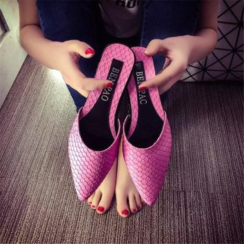 2016 new spring women shoes luxurious beading Fashion Women Sandals pointed toe Mules Slip On Slides Stilettos Summer flat heel