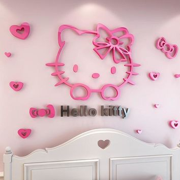 Removable 3D Hello Kitty Wall Sticker Decal Cute Cartton Acrylic Mirror Surface Background Wall Sticker For Kids Bedroom Decor