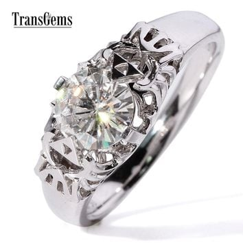 Transgems Gorgeous 1 Carat ct GH White Color Lab Moissanite Diamond Engagement Wedding Ring for Women Solid 9k/14k White Gold