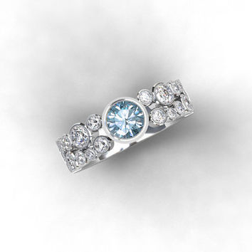 Aquamarine and 1.36ct diamond engagement ring made from Platinum, aquamarine ring, diamond engagement, unique, light blue, bezel, milgrain