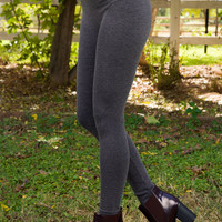 Maja Fleece Leggings in Charcoal