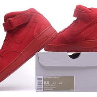 Nike Air Force 1 Mid Gym Red For Women Men Running Sport Casual Shoes Sneakers