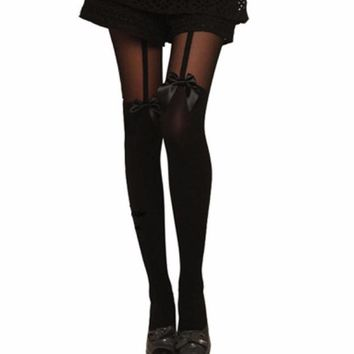 JECKSION Vintage Tights Bow Pantyhose Tattoo Mock Bow Suspender Sheer Stockings #YEN
