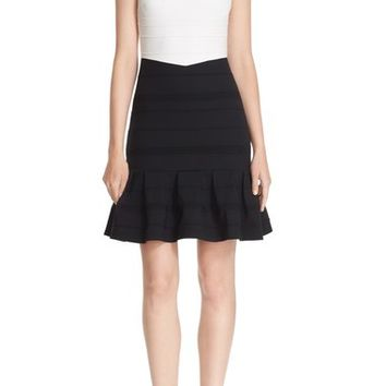 Ted Baker London Stripe Texture Colorblock Flounce Hem Dress | Nordstrom