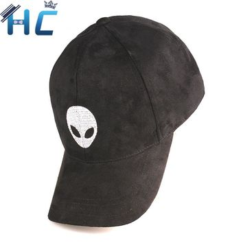 2016 Gorras Snapback Suede Baseball Cap Aliens Outstar Saucer Space E.T UFO Fans Hat for Men Women Solid Hip Hop Cap Black