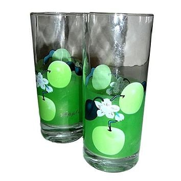 Two Green Apple Glasses Yard Sale