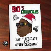 90's Christmas Card - Oldschool Hip Hop Christmas - Funny Christmas Card - Rapper Christmas Card - Retro Video Games 4.5 X 6.25 Inches