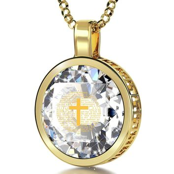 """Psalm 23"", 24k Gold Plated Necklace, Cubic Zirconia"