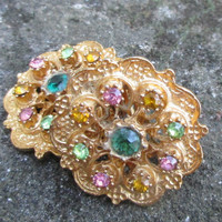 CORO Earrings Vintage Gold Tone Clip On Multicolored Crystals Filigree Setting f94