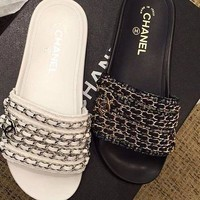 Fashion Online Chanel Shoes New 17 Spring Chain Slippers Silk And Satin Sandals