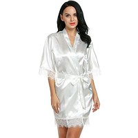 Short Satin Bride Robe Lace Silk Kimono Bathrobe With Removable Belt