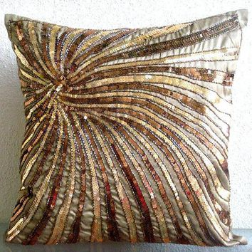 Throw Pillow Covers 16 Inch Silk Bead Embroidered Accent Pillow Cover Couch Sofa Pillow Decorative Pillow Pillow Cases Gold Bloom Home Decor