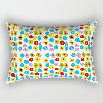 multicolor 3 polka dot-polka dot,pattern,dot,polka,circle,disc,point,abstract,kitsch Rectangular Pillow by oldking