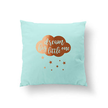 Dream Big Pillow, Typography Pillow, Gold Pillow, Home Decor, Cushion Cover, Throw Pillow, Bedroom Decor, Bed Pillow, Decorative Pillow,