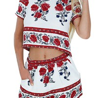 eshion Women 2 Pcs Floral Print Bohemian Crop Tops+Shorts Set Two Piece Outfit Suit