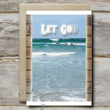 Encouragement Card, Inspirational Card, Christian Quote Printable, Let Go and Let God Printable Card, Inspirational Quote Christian Wall Art