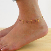 Fashion Metal Stylish Simple Design Crystal Leaf Chain Water Droplets Hot Sale Anklet = 4831036164