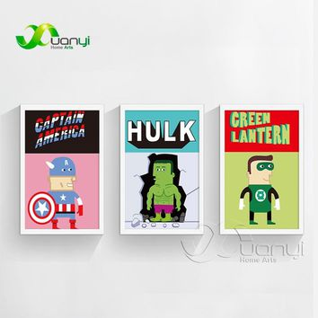 Nordic Decoration Super Hero Avenger Movie Poster Print Hulk Batman Picture Canvas Painting Home Wall Art Unframed BEI0017