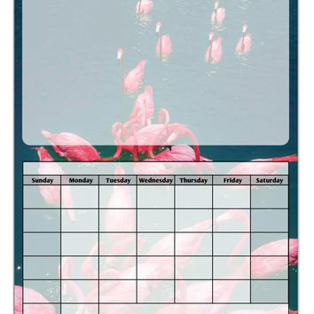 Bright Pink Painted Flamingos Blank Calendar Dry Erase Board All Over Print