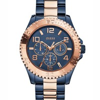 Blue and Rose Gold-Tone Feminine Sport Watch | GUESS.com