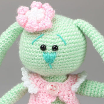 Crocheted handmade toy long-eared bunny soft author's rag doll children's gift
