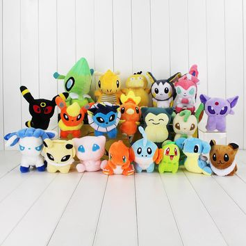 20pcs/lot Eevee Sylveon Emolga Dragonite Psyduck Snorlax Charmander Mudkip Torchic Celebi Stuffed Toys Soft Plush Doll