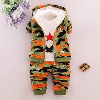 2016 Autumn Children Casual Suits Baby Girls Boys Clothes Sets Camouflage Color Star Coat+T Shirt+Pants 3 Pcs Infant Kids Suits