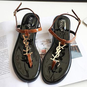 YSL Women Fashion Casual Sandals Flats Shoes