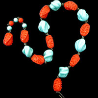 Art Glass Choker Necklace, Turquoise & Coral Glass Beads, 1930s, Vintage Art Deco Jewelry, Unique Gift Idea