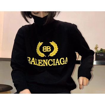 Balenciaga Women  Round neck letters printed loose long sleeve sweater