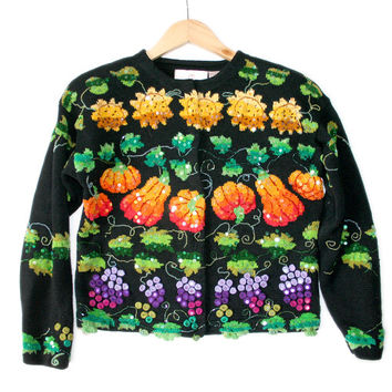 Fall Harvest Blingy Tacky Thanksgiving Ugly Sweater - The Ugly Sweater Shop