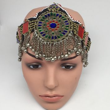 Kuchi Headdress Headpiece Afghan Ethnic Tribal Jingle Alpaca Bells Glass,CK646