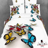 3D Red Blue Yellow Butterfly Bedding Set and Quilt Cover
