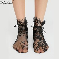 7 Colors.Women's Luxurious Eyelash Lace Ribbon Socks.Ladies Transparent Floral Lace Socks Mesh Bow Fishnet Sock Sox Hosiery