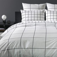 Grid Black Duvet Cover - Full - Duvet Covers - Bed + Bath