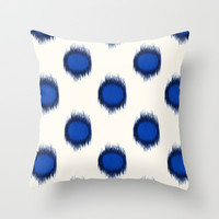 Ikat Dots Blue Indigo Throw Pillow by Jacqueline Maldonado