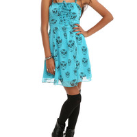 Royal Bones Turquoise Black Skulls Dress