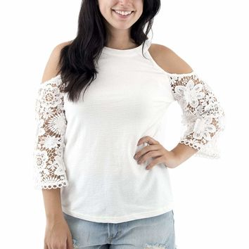 Women's Cold Shoulder Top with Lace Sleeves