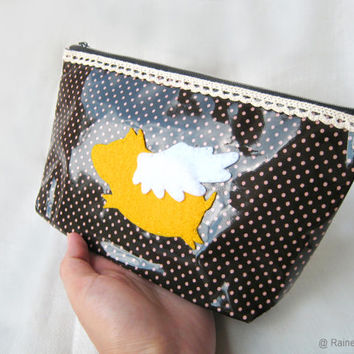 When Pig Flys Brown Polka Dots Zipper Pouch. Orange Flying Pig Pencil Case. Cosmetic Pouch. Cute Gift