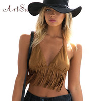 ArtSu Mew Elegant Sexy Women Crop Tops Tassel Sleeveless Bustier Bra Vest Camisole Tank Tops Clothing Vacation ASVE20017