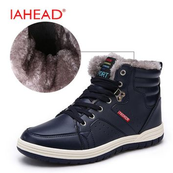 IAHEAD Men Boots New 2017 Winter Fluff Snow Boots Lace-Up Soft Work Shoes Men Leather Casual Boots Plus Size 39-48 MH561