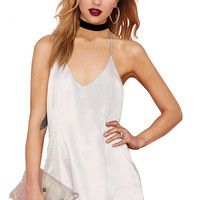White Halter Backless Sleeveless Dress